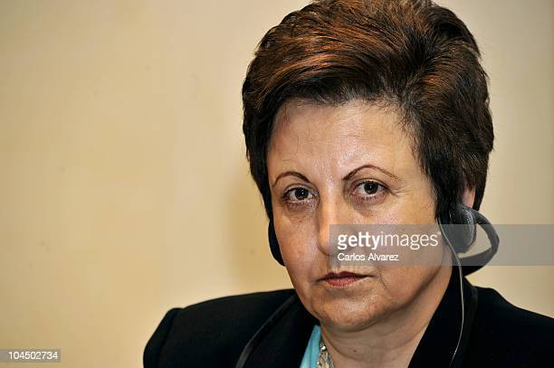 Iranian Nobel Peace Prize Shirin Ebadi attends 'Save the Children' awards press conference on September 28 2010 in Madrid Spain