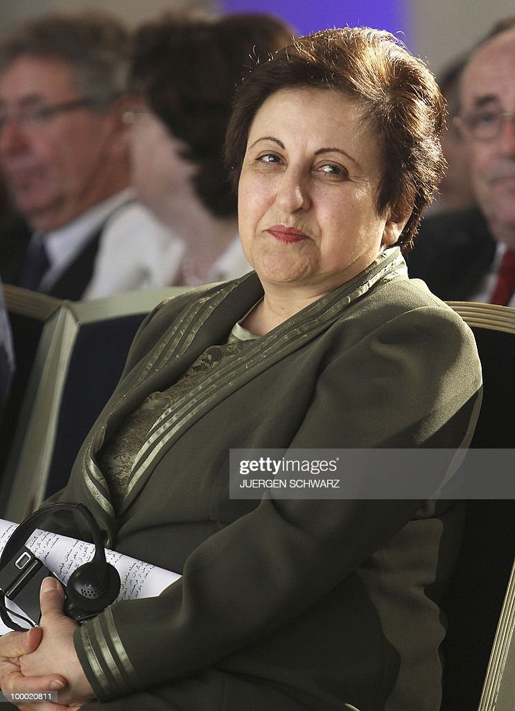 Iranian Nobel Peace Prize winner and lawyer Shirin Ebadi sits after receiving the 'International Democracy Prize' in the western German city of Bonn. Ebadi was honoured with the award for her efforts for democracy in Iran.