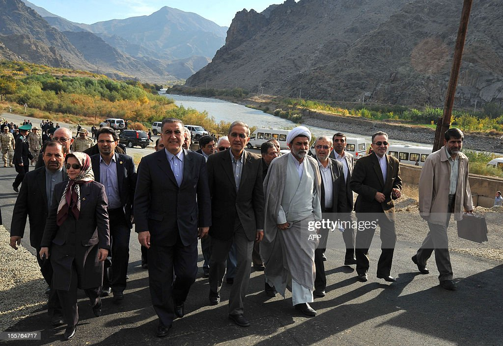 Iranian officials arrive at the construction site of a joint hydro-electric power plant on the Arax River near the southern Armenian town of Meghri on the Armenian-Iranian border, on November 8, 2012. Armenia and Iran started today to construct a joint hydro-electric power plant on their shared border as the Christian and Muslim neighbours sought to boost economic ties.The $323-million (253-million-euro), 130-megawatt plant is due to be completed in five years, and will supply energy to Iran for the first 15 years before being handed over to Armenia.