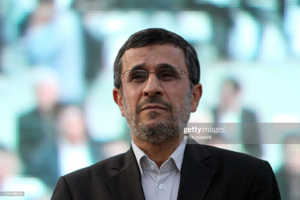 Iranian outgoing President Mahmoud Ahmadinejad is seen during a ceremony at Tehran's Golestan Palace celebrating its inscription on the UNESCO World Heritage List on July 7, 2013. The palace, built in the 16th century, is a masterpiece of the art of the Qajar period.