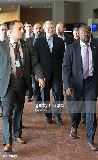 Iranian parliament speaker Ali Larijani arrives during the second day of the Fourth World Conference of Speakers of Parliament at the United Nations...