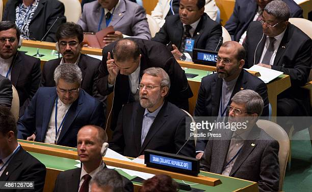 Iranian parliament speaker Ali Larijani attending the Opening Session of Fourth World Conference of Speakers of Parliament at the United Nations...