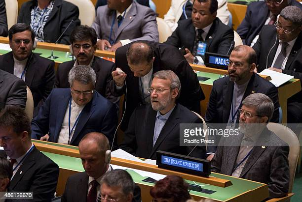 Iranian parliament speaker Ali Larijani attends the Opening Session of Fourth World Conference of Speakers of Parliament at the United Nations...