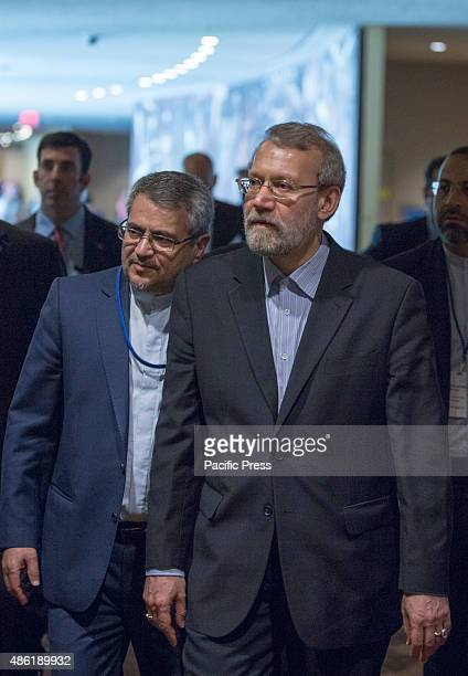 Iranian parliament speaker Ali Larijani attends the second day of Fourth World Conference of Speakers of Parliament at the United Nations...