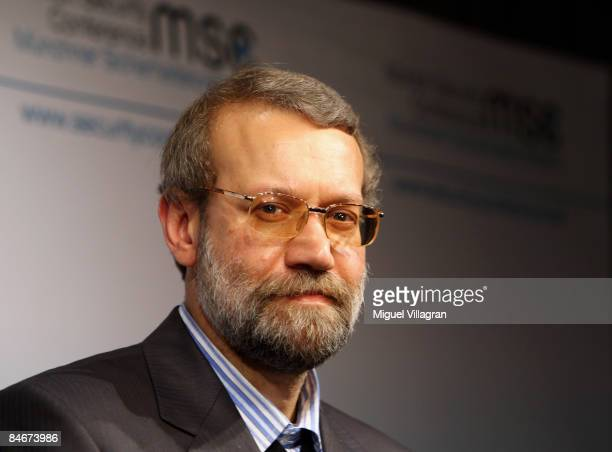 Iranian parliament speaker Ali Larijani formerly Tehran's envoy in nuclear talks attends the first day of the Munich conference on security policy at...