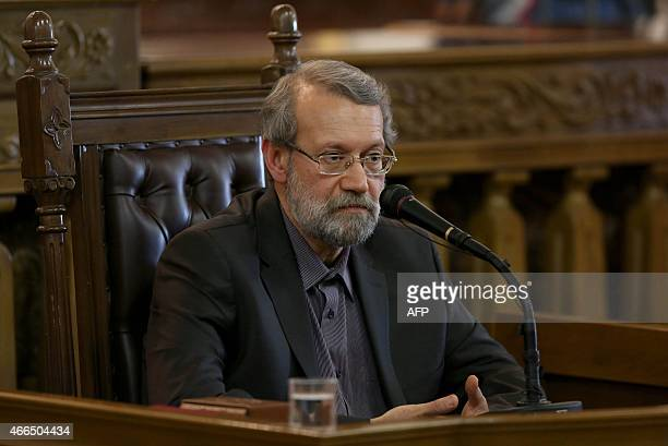 Iranian Parliament Speaker Ali Larijani speaks to the media during a press conference in Tehran on March 162015 Iranian MPs will not derail a nuclear...