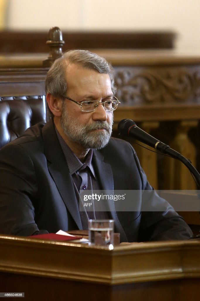 Iranian Parliament Speaker, <a gi-track='captionPersonalityLinkClicked' href=/galleries/search?phrase=Ali+Larijani&family=editorial&specificpeople=572030 ng-click='$event.stopPropagation()'>Ali Larijani</a>, speaks to the media during a press conference in Tehran on March 16,2015. Iranian MPs will not derail a nuclear deal with the West, as US lawmakers have threatened to, if the country's supreme leader gives it his backing, Larijani said.