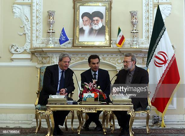 Iranian Parliamentary Speaker Ali Larijani and Italian Foreign Minister Paolo Gentiloni are seen during a meeting held at the Parliament in Tehran...