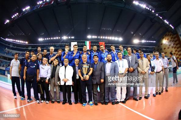 Iranian Players after wining during 17th Asian Men's Volleyball Championship between Iran And Korea on October 6 2013 in Dubai United Arab Emirates