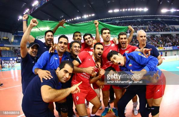 Iranian Players celebrates after wining during 17th Asian Men's Volleyball Championship between Iran And Korea on October 6 2013 in Dubai United Arab...