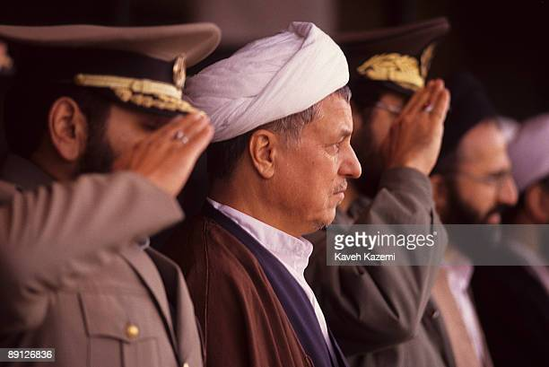 Iranian President Akbar Hashemi Rafsanjani with military commanders during an army day ceremony in Azadi Square Tehran Iran April 1992