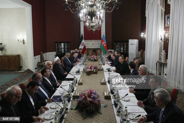 Iranian President Hassan Rouhani and Azerbaijan's President Ilham Aliyev hold an interdelegation meeting in Tehran Iran on March 05 2017