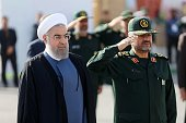 Iranian President Hassan Rouhani and IRGC Major General Mohammad Ali Jafari attend the 21st Nationwide Assembly of the Islamic Revolution Guards...