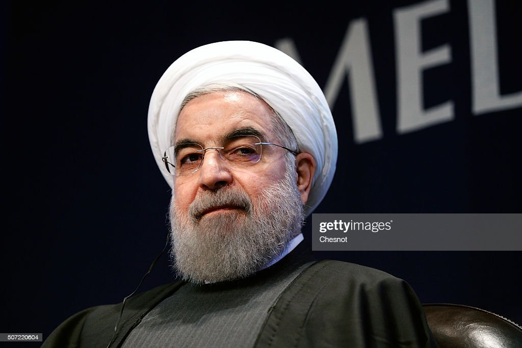 Iranian President <a gi-track='captionPersonalityLinkClicked' href=/galleries/search?phrase=Hassan+Rouhani+-+Politician&family=editorial&specificpeople=641593 ng-click='$event.stopPropagation()'>Hassan Rouhani</a> attends a meeting with the French Prime Minister Manuel Valls at the French employers association MEDEF headquarters on January 28, 2016 in Paris, France. <a gi-track='captionPersonalityLinkClicked' href=/galleries/search?phrase=Hassan+Rouhani+-+Politician&family=editorial&specificpeople=641593 ng-click='$event.stopPropagation()'>Hassan Rouhani</a> is on the first state visit to France by an Iranian president in nearly two decades following the lifting of sanctions against his country.