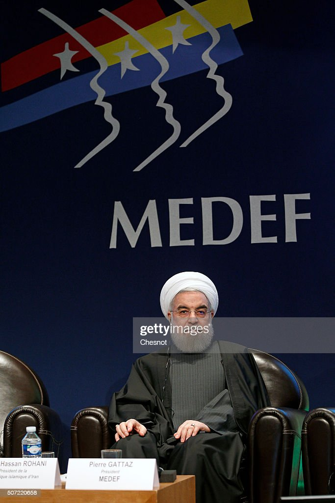 Iranian President <a gi-track='captionPersonalityLinkClicked' href=/galleries/search?phrase=Hassan+Rouhani+-+Politicus&family=editorial&specificpeople=641593 ng-click='$event.stopPropagation()'>Hassan Rouhani</a> attends a meeting with the French Prime Minister Manuel Valls at the French employers association MEDEF headquarters on January 28, 2016 in Paris, France. <a gi-track='captionPersonalityLinkClicked' href=/galleries/search?phrase=Hassan+Rouhani+-+Politicus&family=editorial&specificpeople=641593 ng-click='$event.stopPropagation()'>Hassan Rouhani</a> is on the first state visit to France by an Iranian president in nearly two decades following the lifting of sanctions against his country.