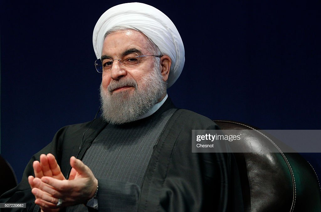 Iranian President <a gi-track='captionPersonalityLinkClicked' href=/galleries/search?phrase=Hassan+Rouhani+-+Politiker&family=editorial&specificpeople=641593 ng-click='$event.stopPropagation()'>Hassan Rouhani</a> attends a meeting with the French Prime Minister Manuel Valls at the French employers association MEDEF headquarters on January 28, 2016 in Paris, France. <a gi-track='captionPersonalityLinkClicked' href=/galleries/search?phrase=Hassan+Rouhani+-+Politiker&family=editorial&specificpeople=641593 ng-click='$event.stopPropagation()'>Hassan Rouhani</a> is on the first state visit to France by an Iranian president in nearly two decades following the lifting of sanctions against his country.