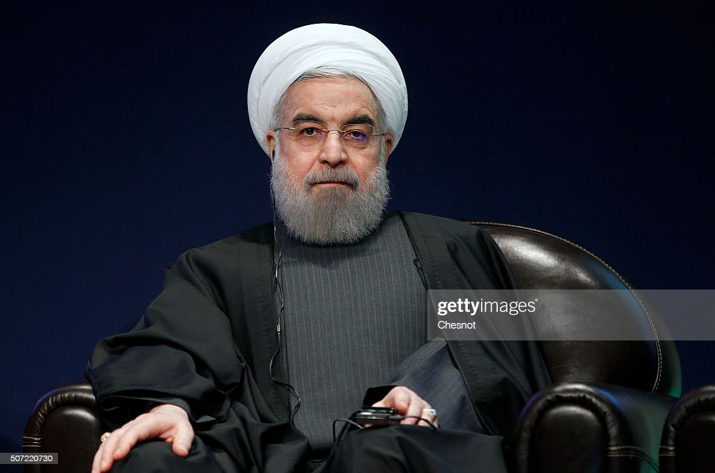 Iranian President <a gi-track='captionPersonalityLinkClicked' href=/galleries/search?phrase=Hassan+Rouhani+-+Homme+politique&family=editorial&specificpeople=641593 ng-click='$event.stopPropagation()'>Hassan Rouhani</a> attends a meeting with the French Prime Minister Manuel Valls at the French employers association MEDEF headquarters on January 28, 2016 in Paris, France. <a gi-track='captionPersonalityLinkClicked' href=/galleries/search?phrase=Hassan+Rouhani+-+Homme+politique&family=editorial&specificpeople=641593 ng-click='$event.stopPropagation()'>Hassan Rouhani</a> is on the first state visit to France by an Iranian president in nearly two decades following the lifting of sanctions against his country.