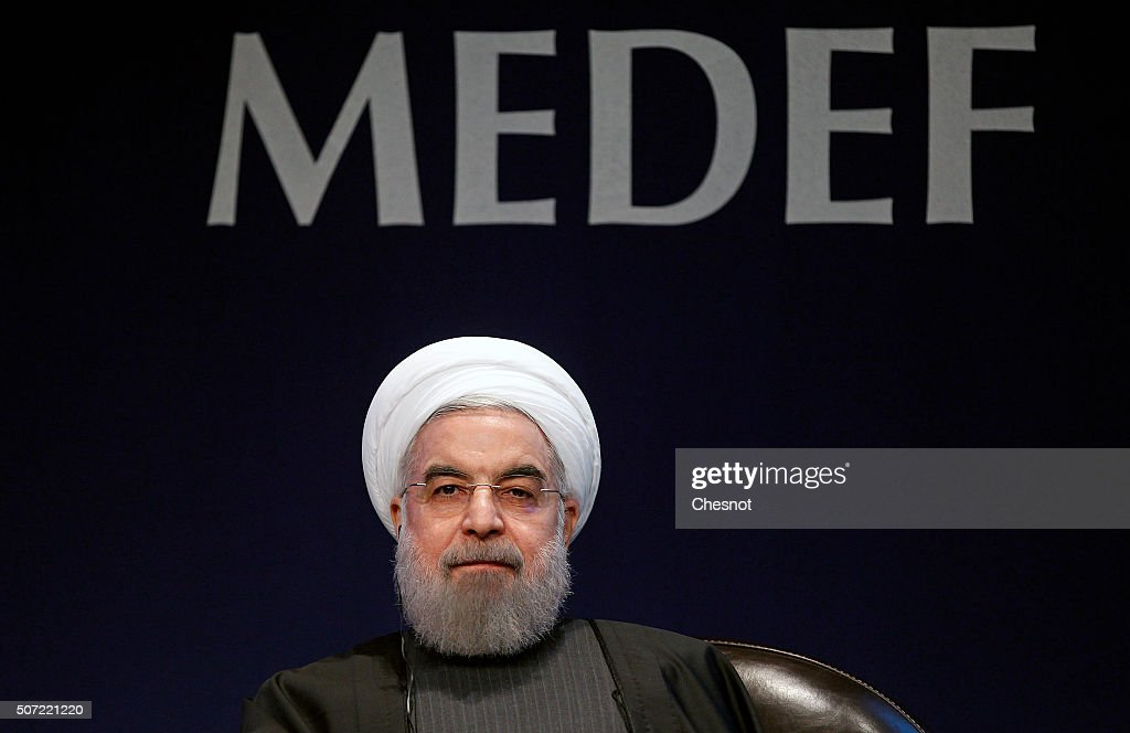 Iranian President <a gi-track='captionPersonalityLinkClicked' href=/galleries/search?phrase=Hassan+Rouhani+-+Politicus&family=editorial&specificpeople=641593 ng-click='$event.stopPropagation()'>Hassan Rouhani</a> attends a meeting with the French Prime Minister Manuel Valls at the French employers association MEDEF headquarters on January 28, 2016 in Paris, France. <a gi-track='captionPersonalityLinkClicked' href=/galleries/search?phrase=Hassan+Rouhani+-+Politicus&family=editorial&specificpeople=641593 ng-click='$event.stopPropagation()'>Hassan Rouhani</a> is to make the first state visit to France by an Iranian president in nearly two decades following the lifting of sanctions against his country.