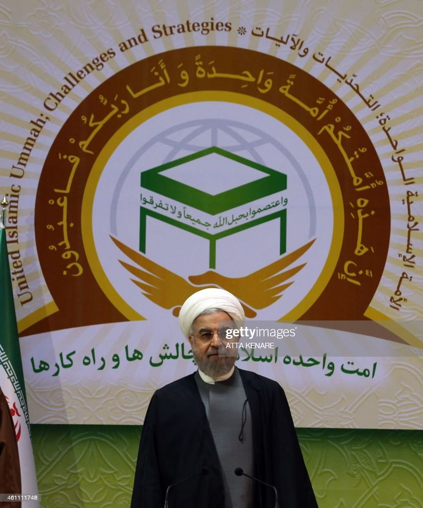 Iranian President Hassan Rouhani chairs the 28th International Islamic Unity Conference in the capital Tehran on January 7, 2015. AFP PHOTO / ATTA KENARE