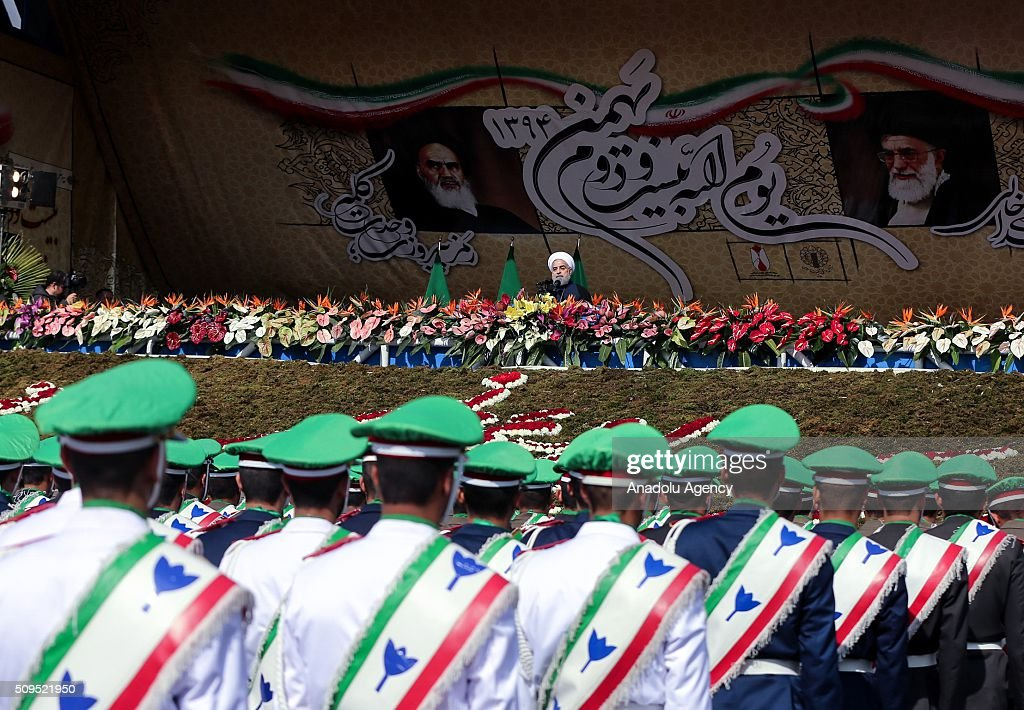 Iranian President Hassan Rouhani delivers a speech during a ceremony to commemorate 37th anniversary of Iran Islamic revolution at Azadi Square in Tehran, Iran on February 11, 2016.