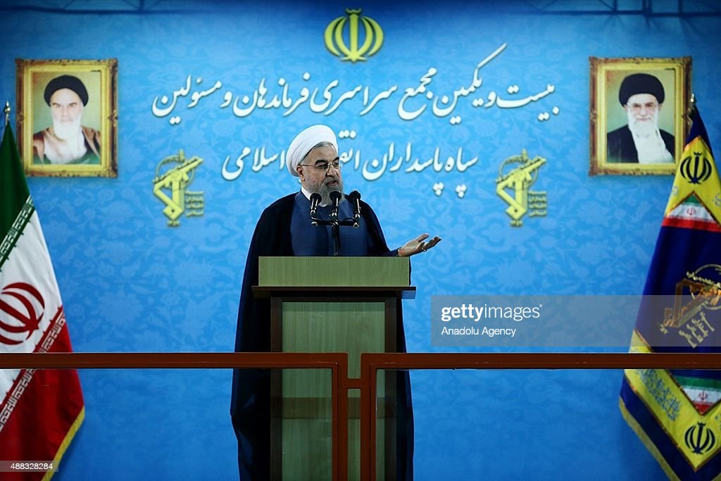 Iranian President Hassan Rouhani delivers a speech during the 21st Nationwide Assembly of the Islamic Revolution Guards Corps Commanders in Tehran...