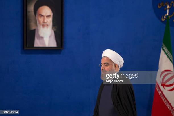 Iranian President Hassan Rouhani gives a press conference on May 22 2017 in Tehran Iran Responding to criticism of the Islamic Republic from US...