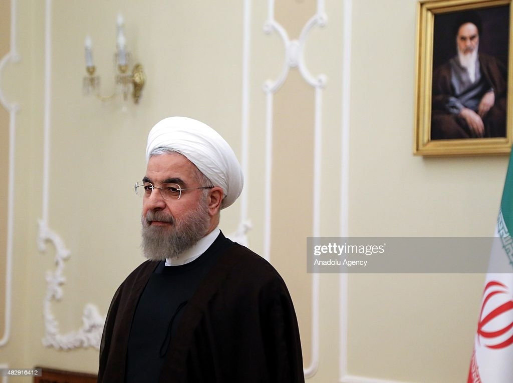 Iranian President <a gi-track='captionPersonalityLinkClicked' href=/galleries/search?phrase=Hassan+Rouhani+-+Politician&family=editorial&specificpeople=641593 ng-click='$event.stopPropagation()'>Hassan Rouhani</a> holds a meeting with Serbian Foreign Minister Ivica Dacic (not seen) at the presidential palace in Tehran, Iran on August 04, 2015.