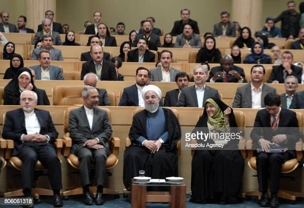 Iranian President Hassan Rouhani Iranian Foreign Minister Mohammad Javad Zarif and Iran's VicePresident in charge of environment affairs Masoomeh...