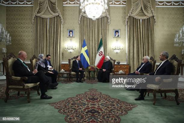 Iranian President Hassan Rouhani meets Swedish Prime Minister Stefan Lofven at Sa'dabad Palace in Tehran Iran on February 11 2017