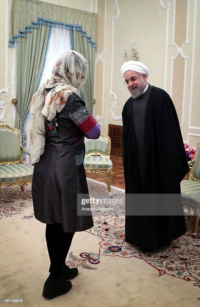 Iranian President Hassan Rouhani meets with Croatian Foreign Minister Vesna Pusic in Tehran Iran on January 25 2015