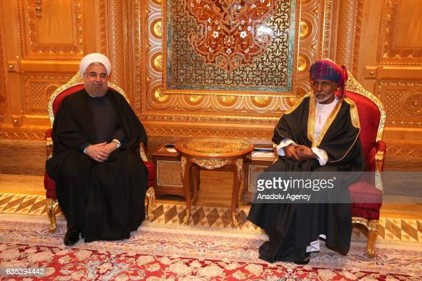 Iranian President Hassan Rouhani meets with Sultan of Oman Qaboos bin Said Al Said during his official visit in Muscat Oman on February 15 2017