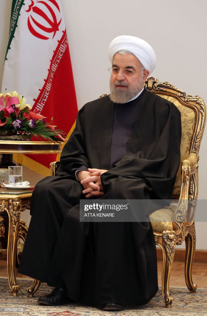 Iranian President <a gi-track='captionPersonalityLinkClicked' href=/galleries/search?phrase=Hassan+Rouhani+-+Politician&family=editorial&specificpeople=641593 ng-click='$event.stopPropagation()'>Hassan Rouhani</a> meets with Venezuelan Foreign Minister Delcy Rodriguez in the Iranian capital, Tehran, on April 20, 2015.