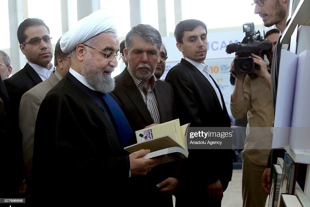 Iranian President Hassan Rouhani visits the 29th International Tehran Book Fair at the Sun City Fair Complex in Tehran, Iran on May 3, 2016.