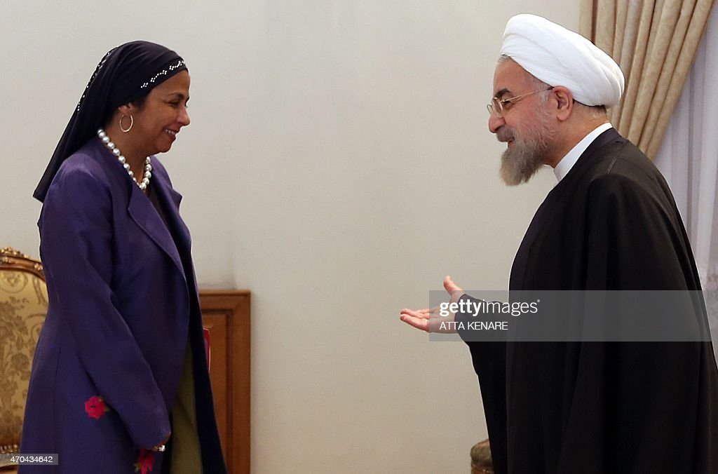 Iranian President Hassan Rouhani welcomes Venezuelan Foreign Minister Delcy Rodriguez during their meeting in the Iranian capital Tehran on April 20...