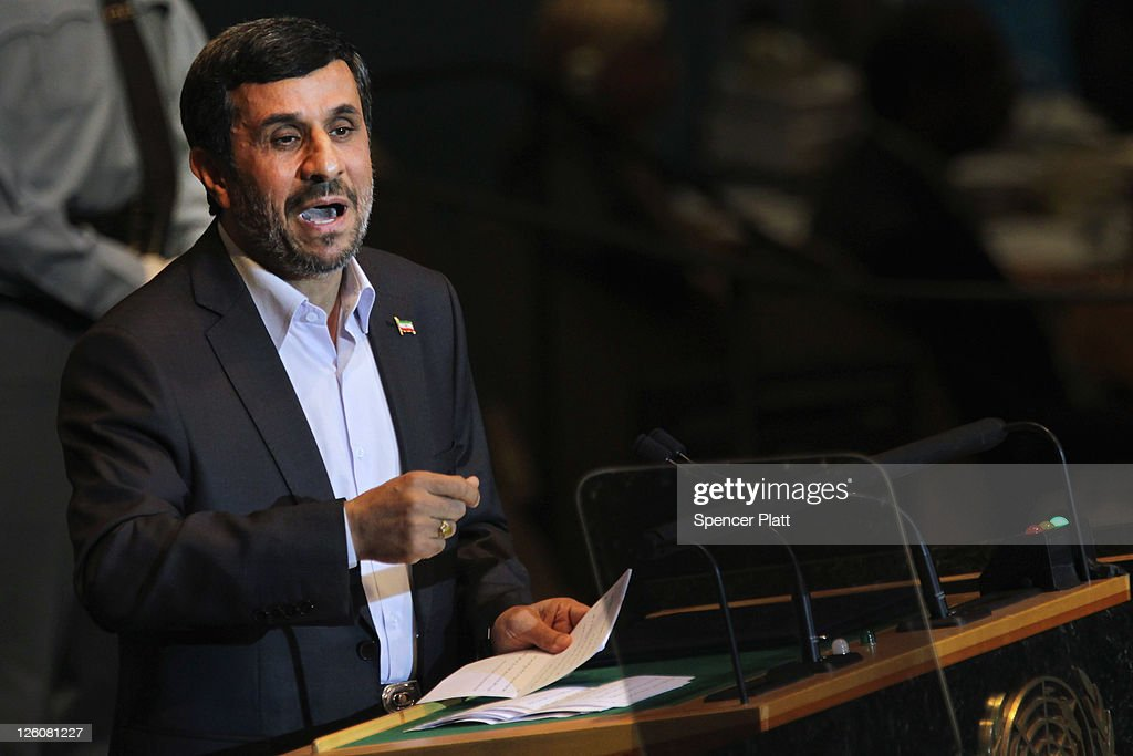 Iranian President <a gi-track='captionPersonalityLinkClicked' href=/galleries/search?phrase=Mahmoud+Ahmadinejad&family=editorial&specificpeople=221337 ng-click='$event.stopPropagation()'>Mahmoud Ahmadinejad</a> addresses the 66th General Assembly Session at the United Nations on September 22, 2011 in New York City. The annual event, which is being dominated this year by the Palestinians' bid for full membership, gathers more than 100 heads of state and government for high level meetings on nuclear safety, regional conflicts, health and nutrition and environment issues.