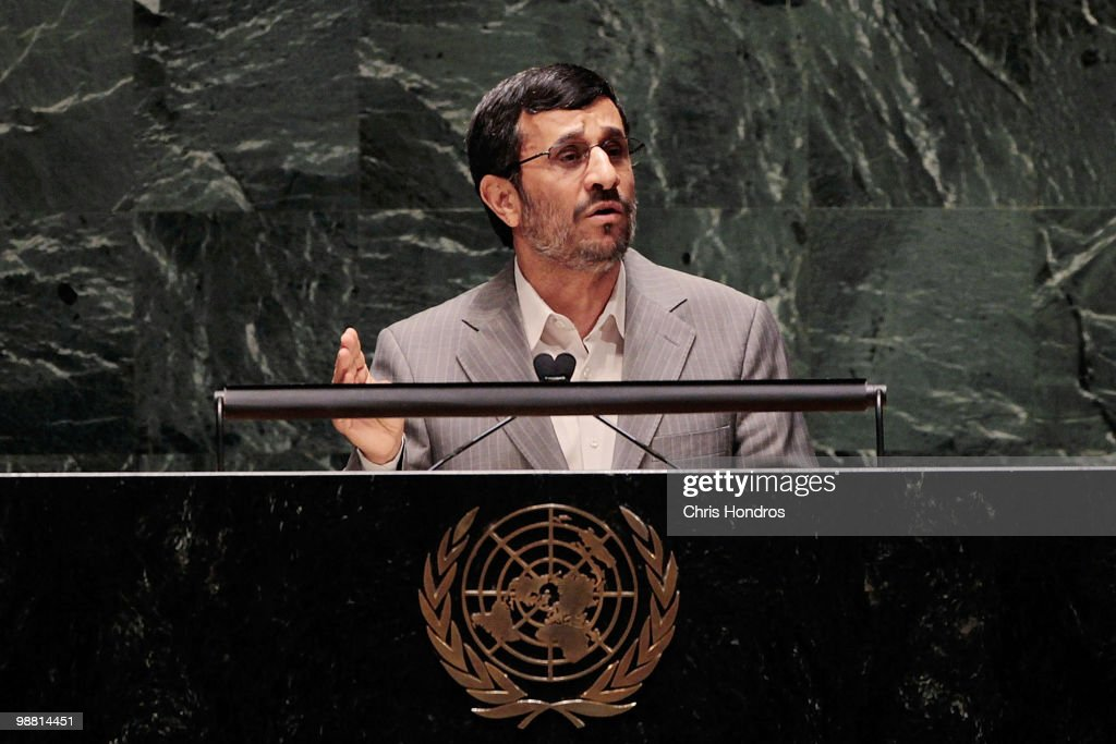 Iranian president Mahmoud Ahmadinejad addresses the delegation of the Nuclear Non Proliferation Treaty Review Conference May 3 2010 at the United...