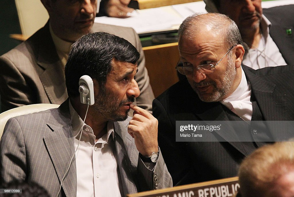Iranian President Mahmoud Ahmadinejad and Iranian Foreign Minister Manouchehr Mottaki attend the United Nations 2010 Highlevel Review Conference of...