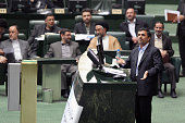 Iranian president Mahmoud Ahmadinejad appears in Parliament to responds to questions of MP regarding political and economic issues On February 7th...