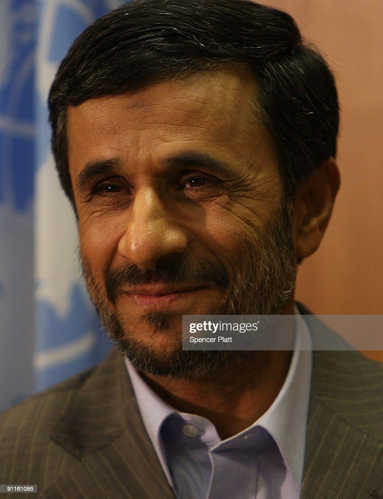 Iranian President Mahmoud Ahmadinejad attends a meeting with UN SecretaryGeneral Ban KiMoon at the UN on September 25 2009 in New York New York...