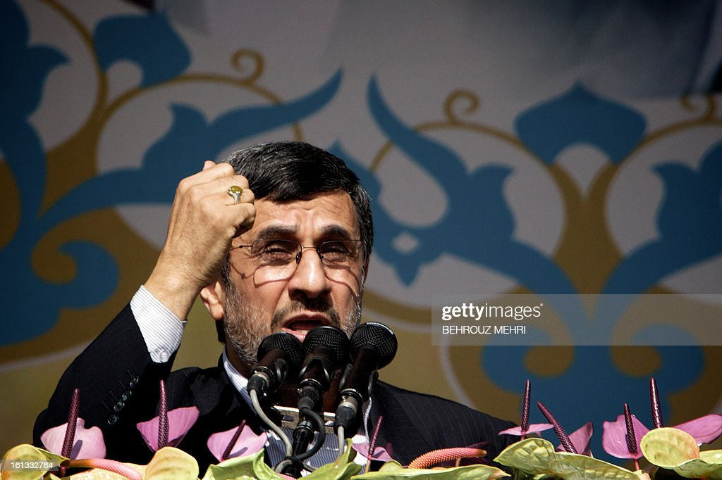 Iranian President Mahmoud Ahmadinejad delivers a speech during a rally in Tehran's Azadi Square (Freedom Square) to mark the 34th anniversary of the Islamic revolution on February 10, 2013. Hundreds of thousands of people marched in Tehran and other cities chanting 'Death to America' and 'Death to Israel' as Iran celebrated the anniversary of the ousting of the US-backed shah.