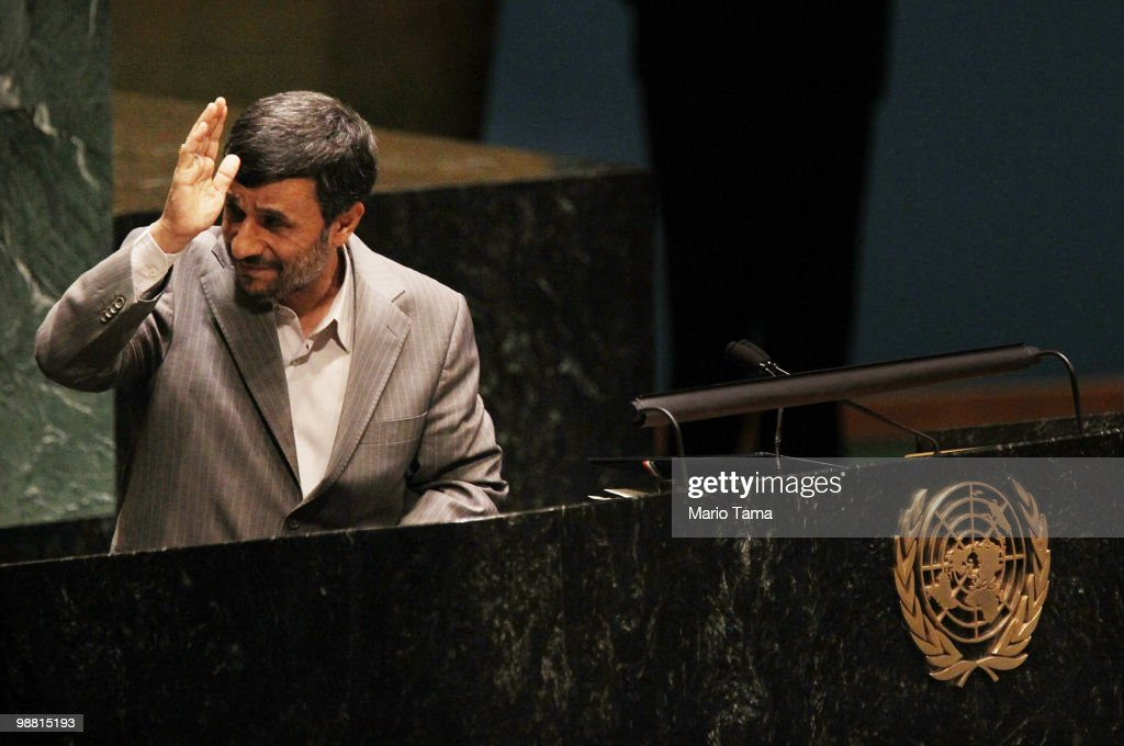 Iranian President Mahmoud Ahmadinejad gestures while speaking at the United Nations 2010 Highlevel Review Conference of the Parties to the Treaty on...