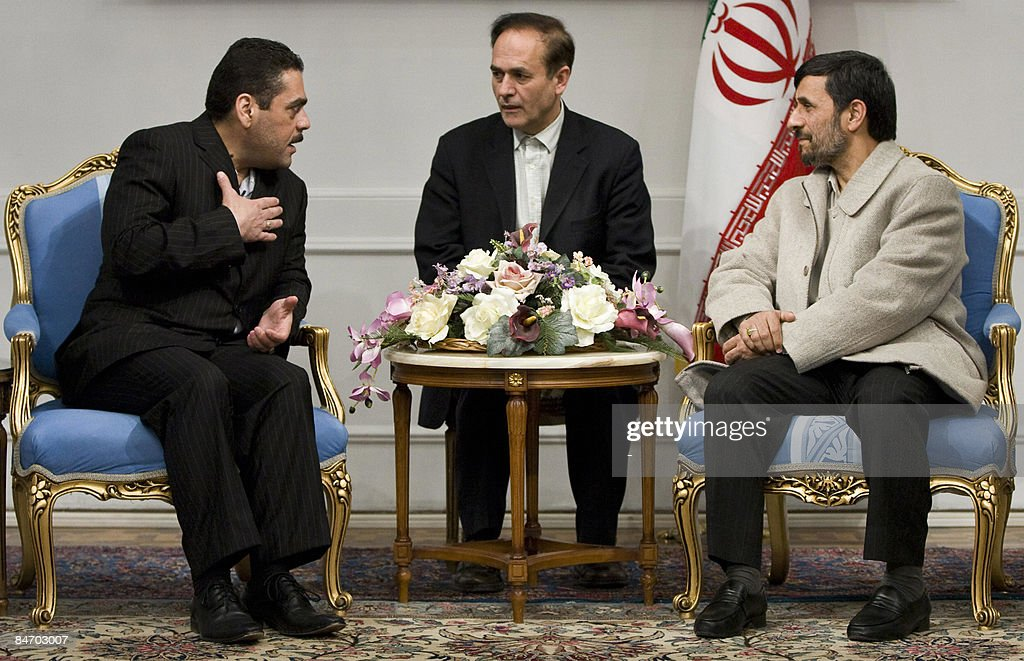 Iranian President Mahmoud Ahmadinejad (R) meets with Lebanese militant and former prisoner in Israel Samir Kantar (L) at the presidential palace in Tehran on February 9, 2009. Kantar, who was controversially freed by Israel in a prisoner swap last year, called for the destruction of the Jewish state at the start of his visit to Tehran in January. Described as a monster in Israel where he was convicted of killing three people, including a policeman and a four-year-old girl in a notorious attack nearly three decades ago, Kantar is considered a hero by some in Lebanon.