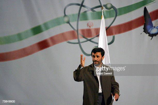 Iranian president Mahmoud Ahmadinejad speaks at a ceremony at the Natanz nuclear enrichment facility on April 9 180 miles south of Tehran Iran...