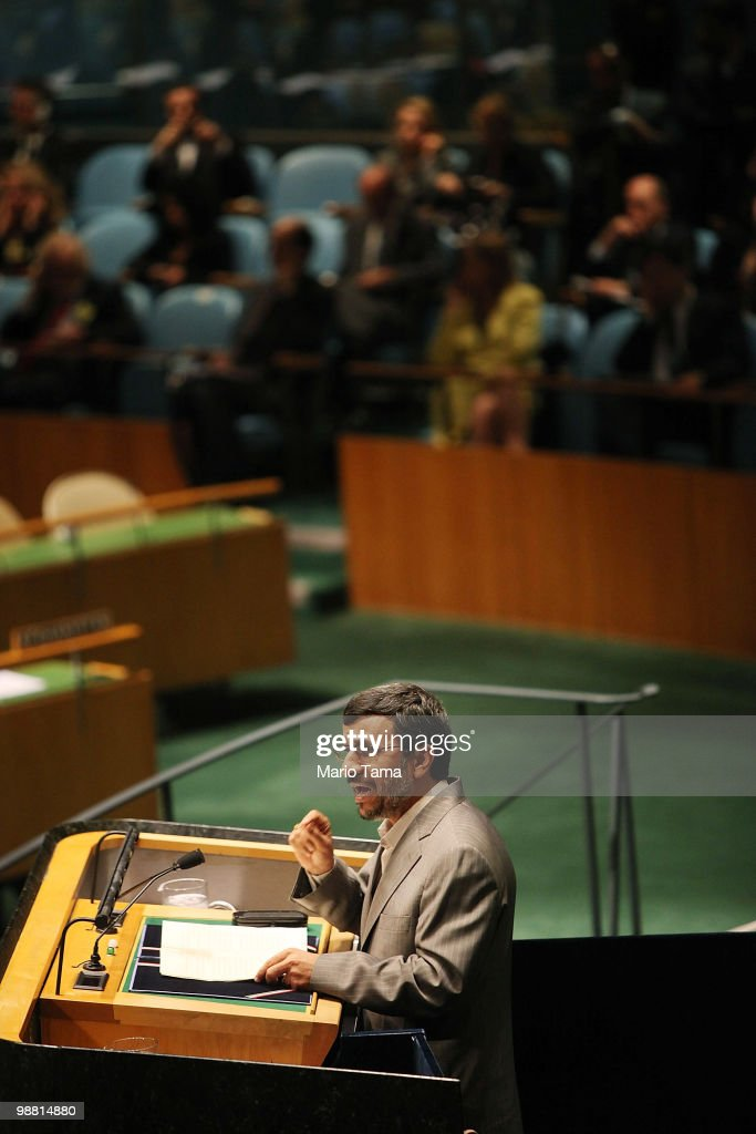 Iranian President Mahmoud Ahmadinejad speaks at the United Nations 2010 Highlevel Review Conference of the Parties to the Treaty on the...