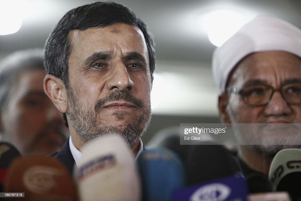 Iranian President <a gi-track='captionPersonalityLinkClicked' href=/galleries/search?phrase=Mahmoud+Ahmadinejad&family=editorial&specificpeople=221337 ng-click='$event.stopPropagation()'>Mahmoud Ahmadinejad</a> speaks to the media alongside Sheikh Hassan al-Shafei of the Al Azhar mosque, during a press conference at the Al Ahzar headquarters on February 5, 2013, in Cairo, Egypt. President Ahmadinejad arrived in the Egyptian capital, becoming the first Iranian President to visit Egypt since the Iranian revolution in 1979. Mr Ahmadinejad is in Cairo for a meeting of the Organisation of Islamic Co-Operation, a summit of leaders of 56 Islamic states that begins on Wednesday, February 6. (Photo by Ed Giles/Getty Images).