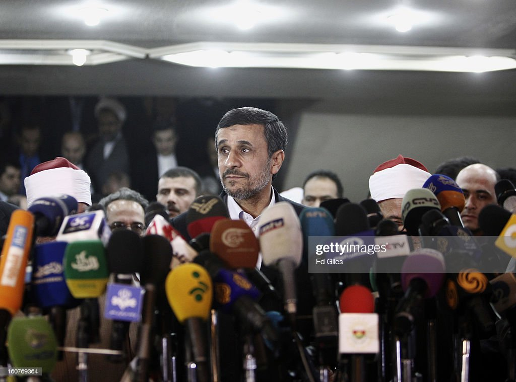 Iranian President Mahmoud Ahmadinejad speaks to the media during a press conference at the Al Ahzar headquarters on February 5 in Cairo Egypt...