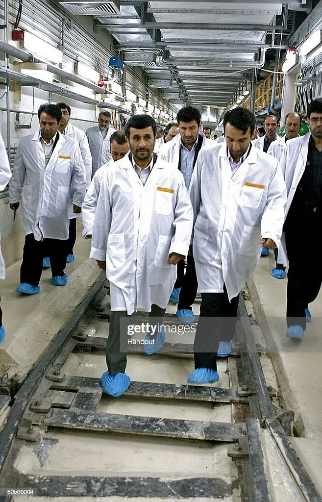 Iranian President Mahmoud Ahmadinejad visits the Natanz uranium enrichment facilities April 8 2008 200 miles south of the Tehran Iran Ahmadinejad...
