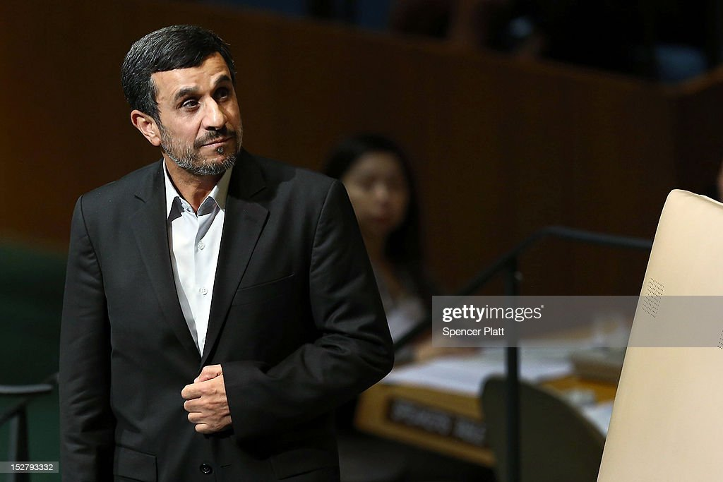 Iranian President Mahmoud Ahmadinejad walks to the podium for his address to world leaders at the United Nations General Assembly on September 26...