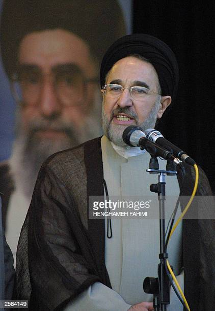 Iranian President Mohammad Khatami gives a speech during a gradation ceremony at Tehran's police academy 04 October 2003 Iran bestowed diplomas upon...