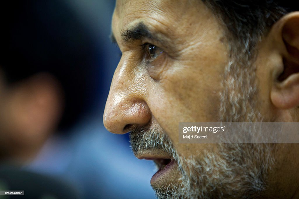 Iranian presidential candidate Ali Akbar Velayati a conservative former Foreign Minister attends a press conference on May 28 2013 in Tehran Iran...